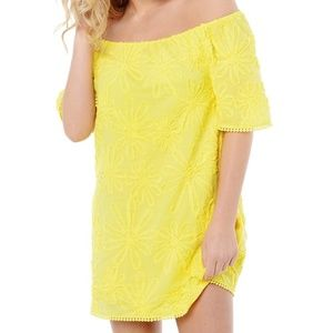 BB Dakota Yellow Floral Print Off  Shoulder Dress
